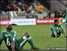 Dejected Nigeria players after being knocked out of the World Cup