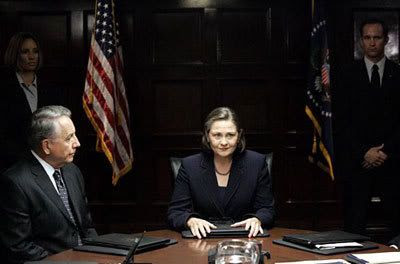 President Allison Taylor (Cherry Jones) addresses her Cabinet in an earlier episode of 24, Season 7.