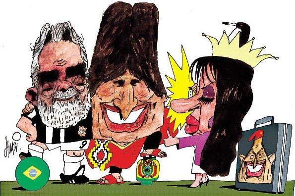 Luiz Inacio Lula da Silva, Evo Morales, Cristina Kirchner y Hugo Chávez. Foto: Huadi