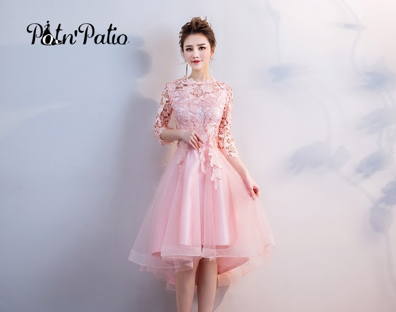 ecaaa6dd2f Pink Bridesmaid Dresses Elegant O-neck Short Fron Long Back Lace ...