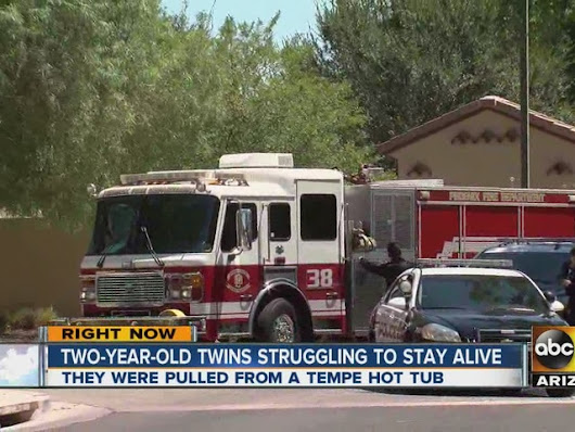 Tempe FD, PD: 2-year-old twins found in hot tub taken to hospital