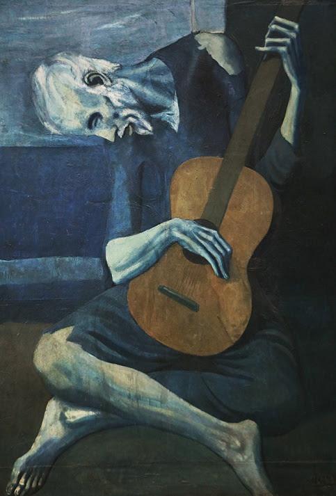 """""""El viejo guitarrista"""" fue pintado por Picasso tras la muerte de su amigo Carlos Casagemas, pintor y poeta español."""