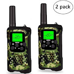 AUPERTO 2PCS Walkie Talkie for Kids 2 Mile Long Range Walkie Talkies Durable Toy Best Birthday Gifts for 6 year old Boys (Green Camo)