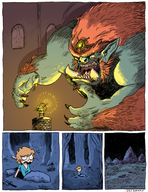 Lucky for Link, this boss fight with Ganon turned out to only be a mere dream. Even Link's dreams are an amazing adventure thanks to Zac Gorman! The Dream by Zac Gorman (Tumblr) (Twitter) Via: idrawnintendo