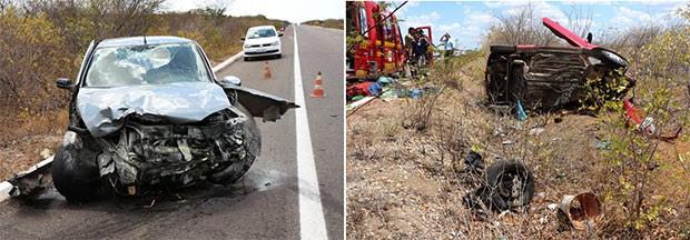 Ford Ka e Siena colidiram no Km 67 da BR-304, próximo a Mossoró (Foto: Marcelino Neto/O Câmera)