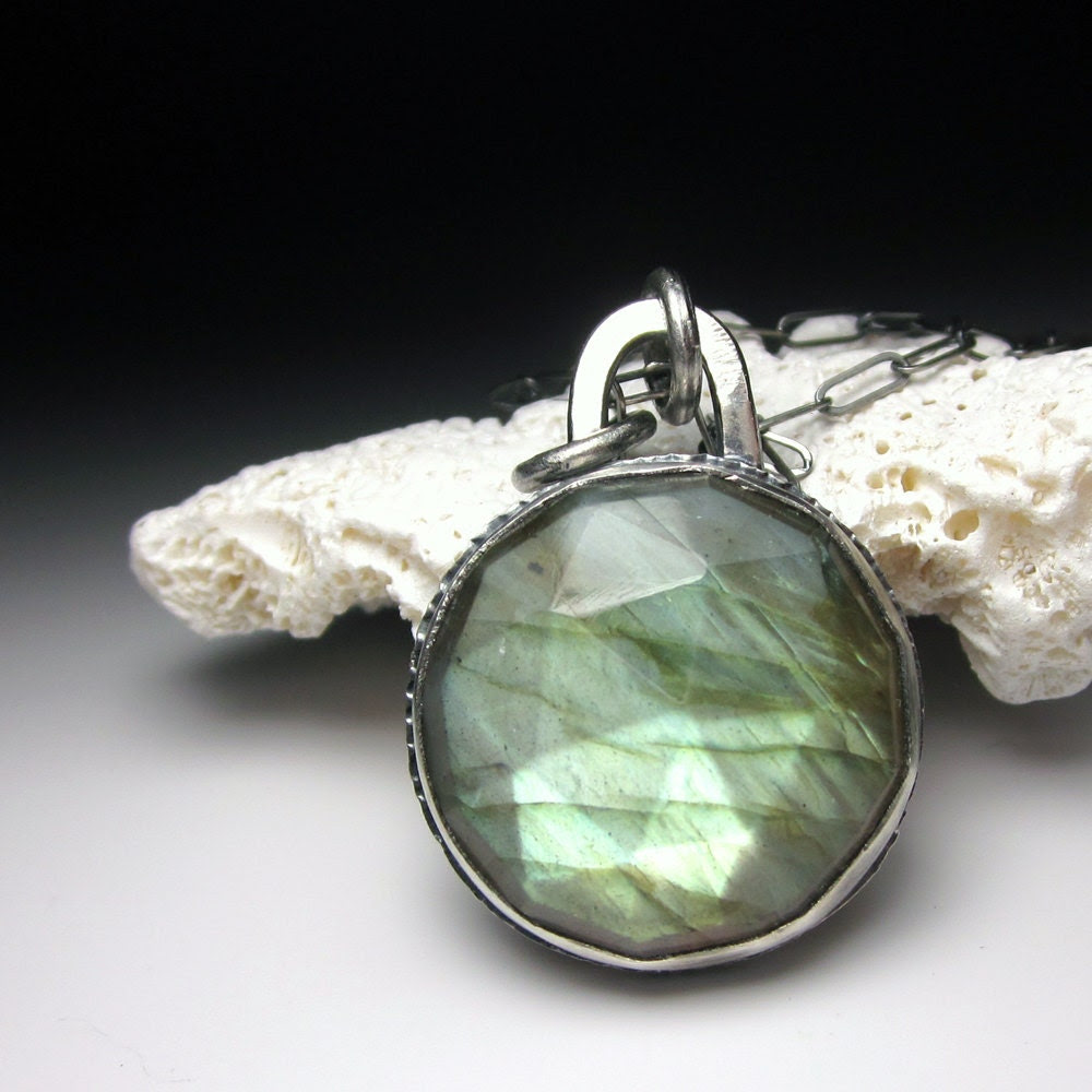 green aqua faceted labradorite necklace OOAK recycled silver eco friendly round