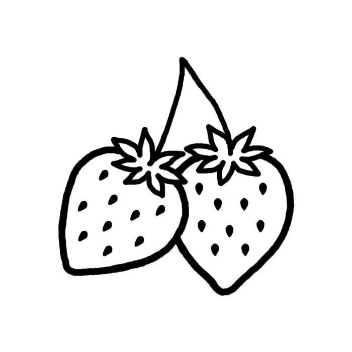 いちご白黒果物食べ物無料イラスト素材