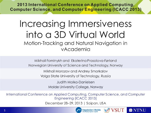 Increasing immersiveness into a 3D virtual world - motion tracking ...