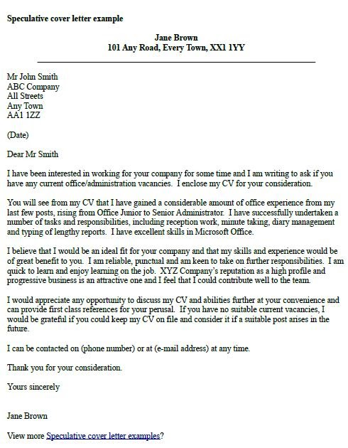 letter of application speculative letter of application