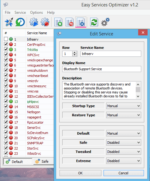 Легкие услуги сервисного меню оптимизатор редактировать