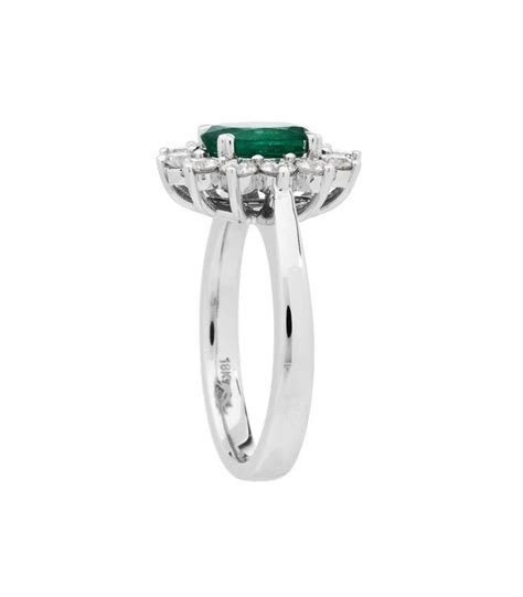 Oval Cut 1.68Ct Emerald and Diamond Ring 18Kt White   Amoro