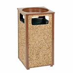 """Global Industrial Stone Panel Trash Sand Urn, Brown 24 Gallon, 17-1/2"""" Square X 32""""H"""