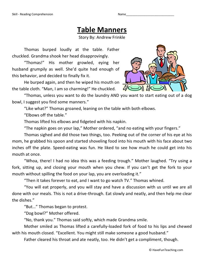 Reading Prehension Worksheet Table Manners