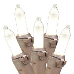 Novelty Lights 100 Light Frosted White Christmas Mini Light Set, Brown Wire, 50' Long
