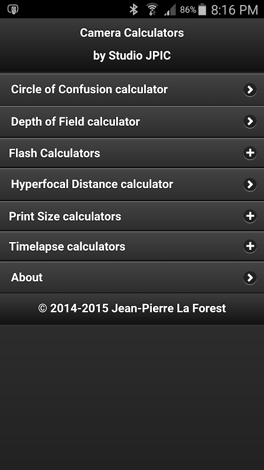 Flash Calculator - Studio JPIC Camera Calculators version 1.2.0 now available! - Studio JPIC