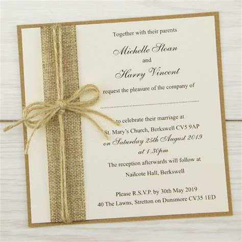 Rustic Burlap Layered Square Wedding Invitation   Pure