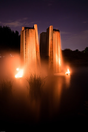 This shot puts me in a mind of some sacrificial altar. The orange/red light, the shrouding halo of mist (or is that smoke?) and the stepped stone monoliths - what else could it be for? The altar's acting up again, time to toss another virgin into the volcano!