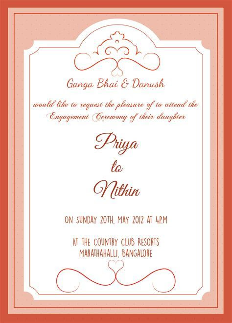 Engagement ceremony invitation card with wordings Check it