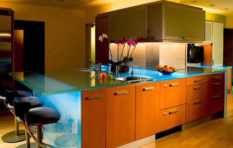 Magnificent Glass Island Think Glass Countertops