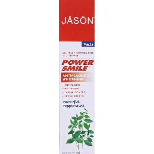 Jason Natural PowerSmile Fluoride Free Whitening Toothpaste, Peppermint - 6 oz tube