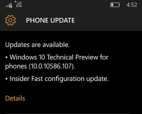 Windows 10 Mobile Insider Preview Build 10586.107 Available for Insider Members(Fast Ring and Slow Ring) With Changelog - Tip and Trick