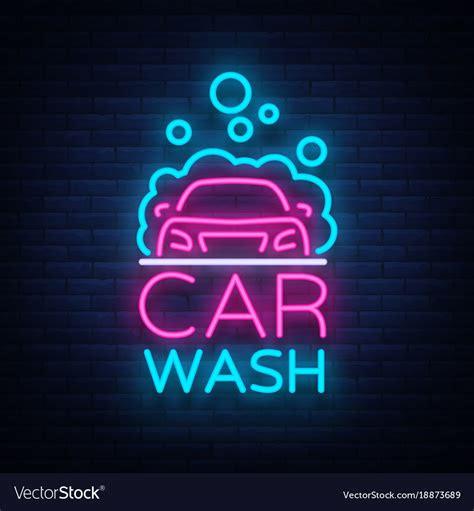 car wash logo design  neon style royalty  vector image
