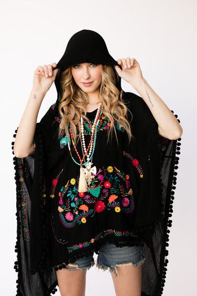 The Kay Poncho in Black