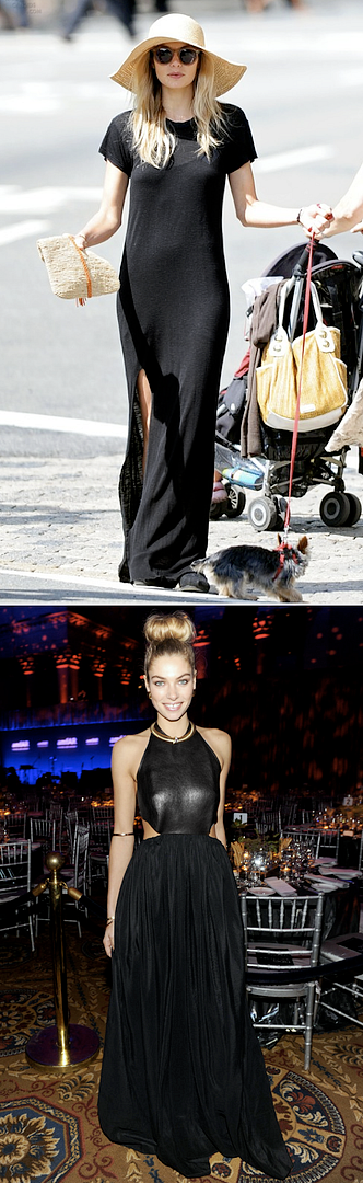 LE FASHION BLOG MODEL STYLE JESSICA HART DAY AND NIGHT BLACK DRESS INSPIRATION T SHIRT MAXI DRESS THIGH SLIT TOMS ROUND SUNGLASSES FLOPPY HATE YORKIE DOG HALTER LEATHER GOWN PLEATS DONUT BUN GOLD NECK ARM CUFF