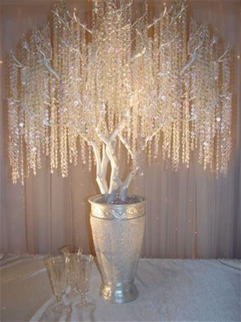 Reception: Manzanita crystal tree Centerpieces