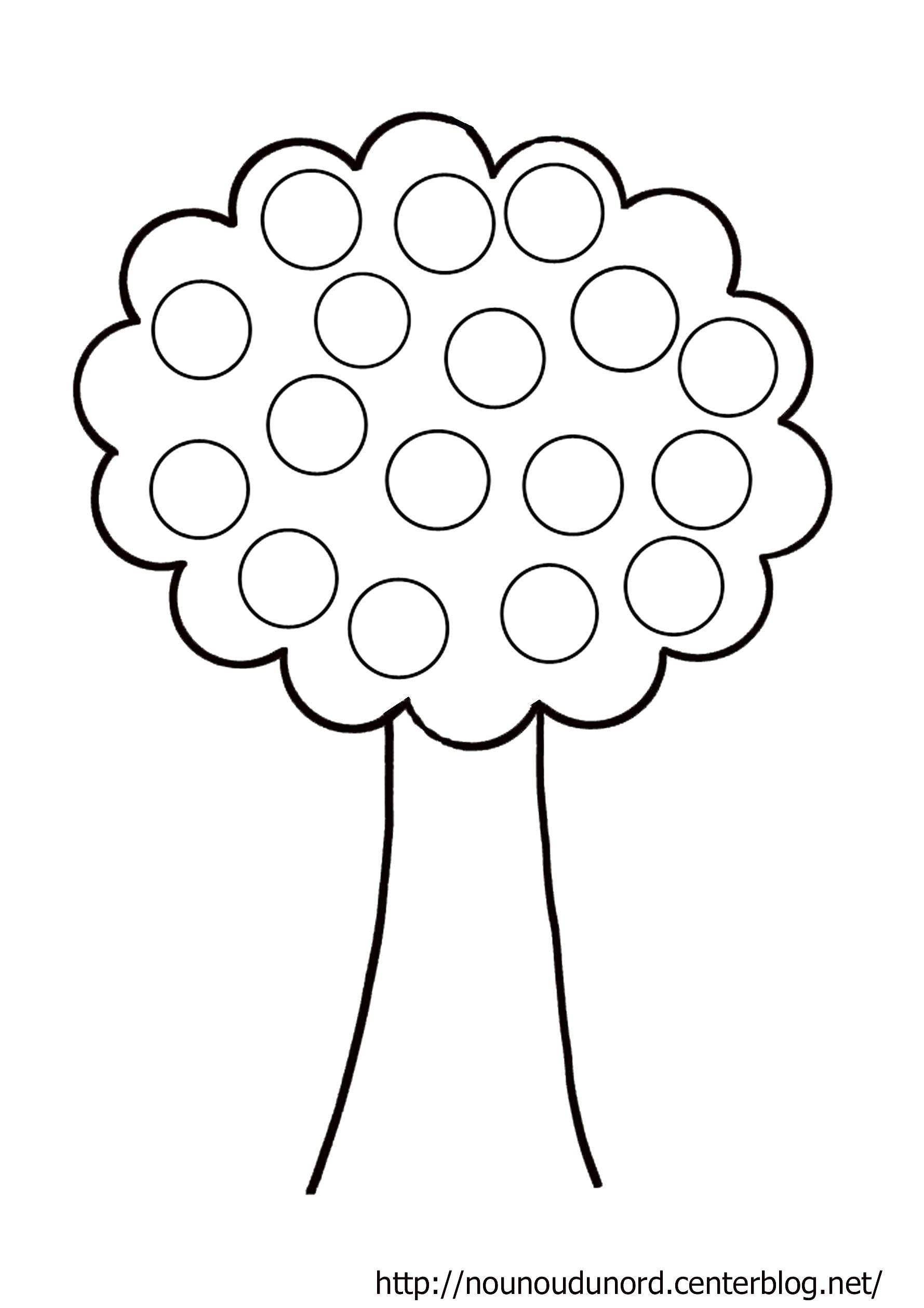 coloriage arbre  gommettes dessiné