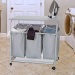 Lavish Home 83-25 Rolling 3 Bin Laundry Sorter & Ironing Station - Gray