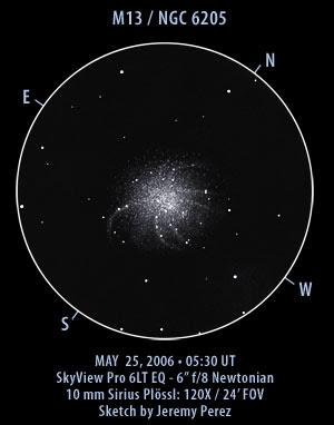 Dibujo de Messier 13 por Jeremy Perez, con unos aumentos y un campo similar al mío