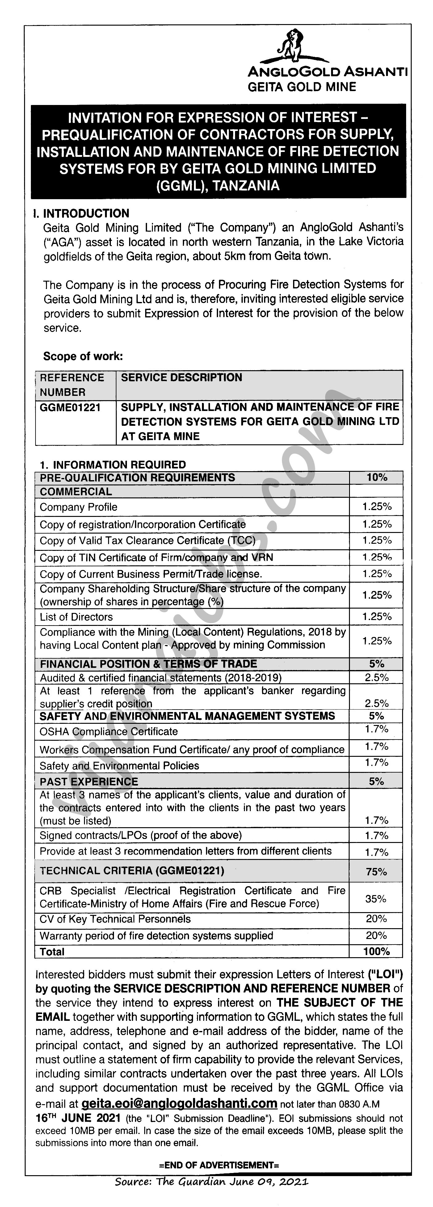 Invitation for Expression of Interest- Prequalification of Contractors for Supply, Installation and Maintanance of Fire Detection Systems