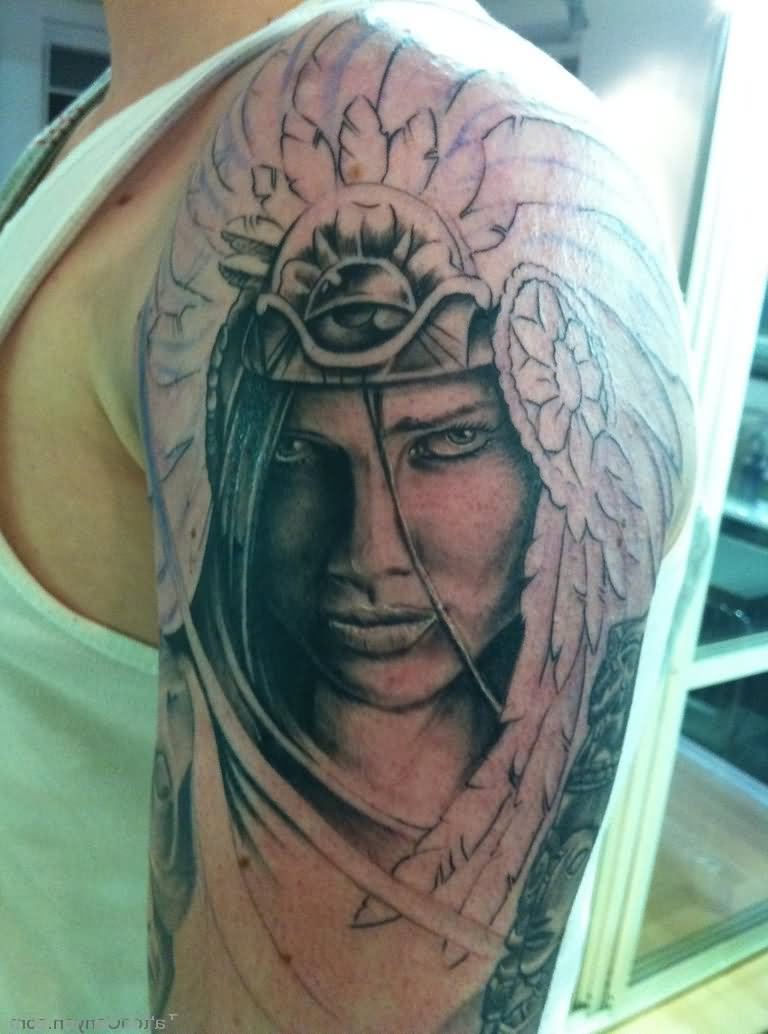 Indian Native Girl Tattoo On Left Shoulder