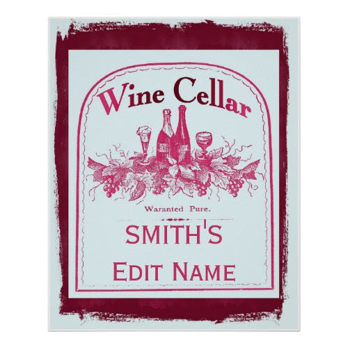 Vintage Wine Cellar Sign Poster - Personalized with Any Name