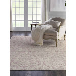 "Jubilant Damask Ivory/Pink Area Rug - 5'3"" x 7'3"" Rectangle 