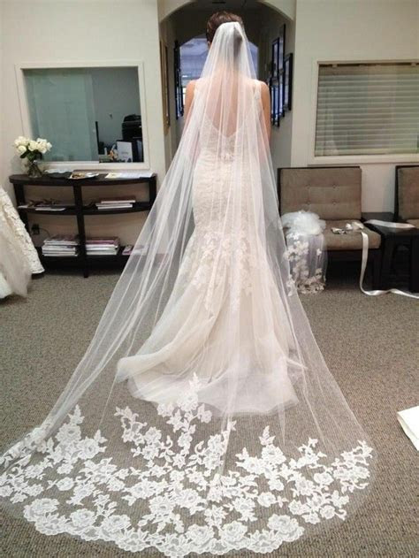 layer white ivory cathedral length lace edge bride