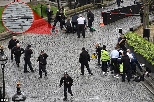 A police officer was stabbed by a knifeman before the attacker was shot by other officers outside Parliament today. The suspected terrorist had driven a 4x4 across Westminster Bridge, ploughing down and seriously injuring pedestrians