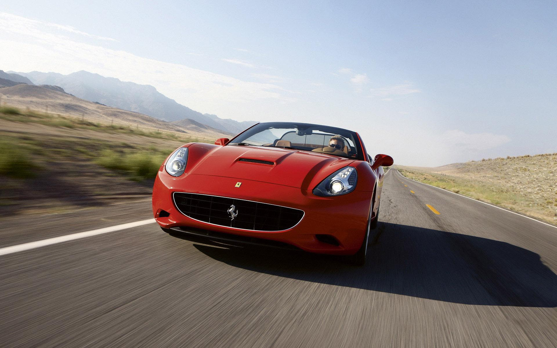 Ferrari California with mountains in the back view HD ...