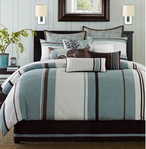 Kaos Couple Blue Brown Striped Comforter Fullqueenking King