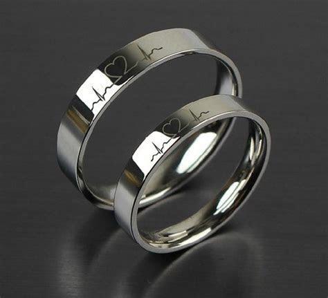 2 PCS Free Engraving Electrocardiogram promise rings