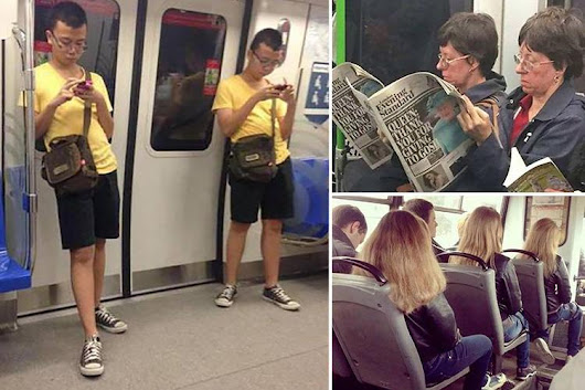 Bizarre accidental twins on public transport will make you look twice