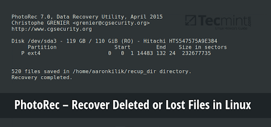 PhotoRec - Recover Deleted or Lost Files in Linux