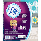 Puffs Ultra Soft 2-Ply Facial Tissues - 6 boxes, 124 count each