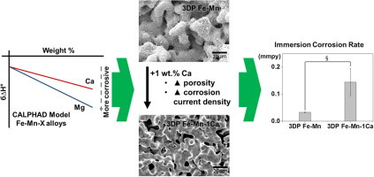 Binder-jetting 3D printing and alloy development of new biodegradable Fe-Mn-Ca/Mg alloys