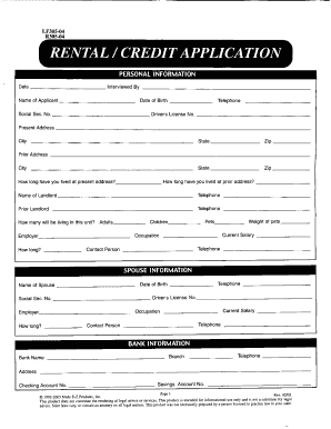 Rental Credit Application Form Fill Out And Sign