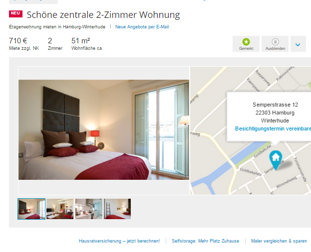 sch ne zentrale 2 zimmer wohnung semperstrasse 12 22303 hamburg. Black Bedroom Furniture Sets. Home Design Ideas