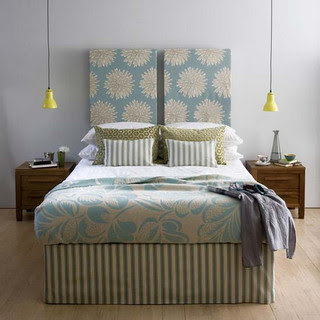 grey walls-Turquoise bedding  bedroom