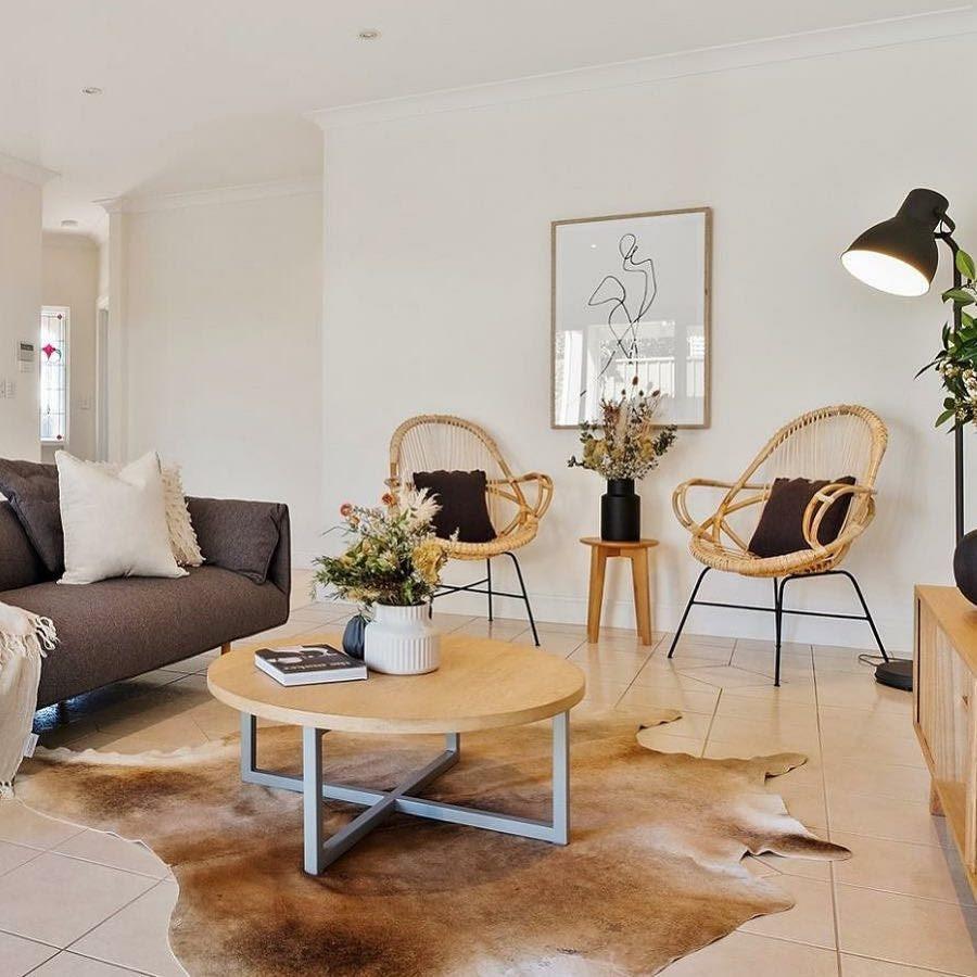 Cowhide Rug In Modern Living Room Boho Living Room