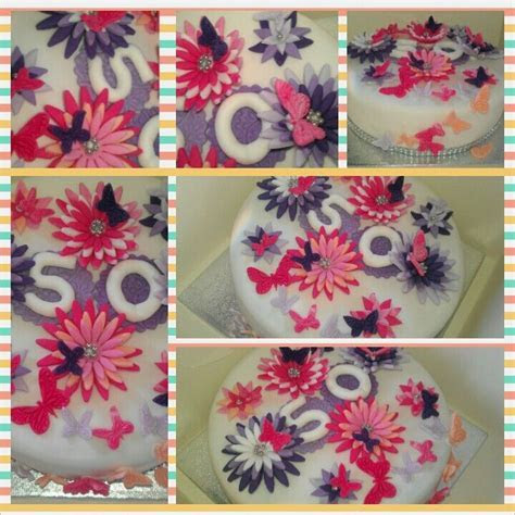 50th birthday cakes, Cake flowers and 50th birthday on